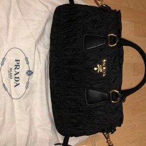 9c57372f9df1 closeout prada bags prada gaufre tessuto satchel black nylon af52b 4f3cc